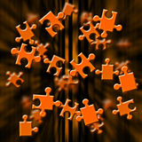 Orange puzzle. Illustration depicting flying puzzle pieces Stock Photos