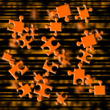 Orange puzzle fly. Illustration depicting flying puzzle pieces Stock Photos