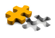 Orange puzzle piece solution concept Royalty Free Stock Image