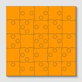 25 orange puzzle pieces - jigsaw - vector. 25 orange puzzle pieces arranged in a square - jigsaw - vector illustration Royalty Free Stock Photos