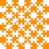 Orange Puzzle Pieces - JigSaw Vector - Field Chess. Orange Puzzle Pieces in a White Square - JigSaw - Vector Illustration. Vector Background. Field for Chess Stock Images