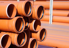 Orange PVC pipes Stock Photos