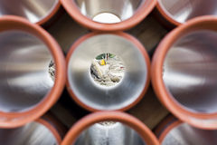 Orange PVC pipes on construction site. Royalty Free Stock Image