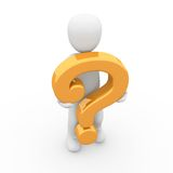 Orange question. The character hiding behind a big and orange question mark Stock Images
