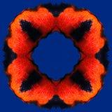 Orange röd flamma i rammodellen på den blåa bakgrunden Stock Illustrationer