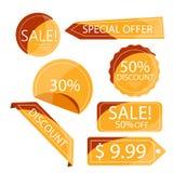 Orange rabattklistermärkear för samling som isoleras på vit Arkivbilder