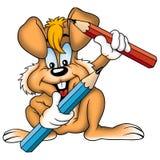 Orange rabbit and crayons Stock Photo