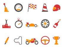Orange race icons set Stock Image