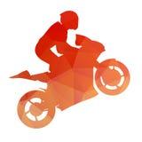 Orange racing bike on the rear wheel Stock Image