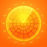 Orange radar screen. Stock Image