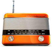 Orange radio. 3D rendering of a orange radio stock illustration