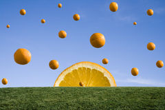 Orange rain. Falling oranges on the background of clear blue sky and green grass. Abstract background Stock Photo