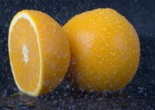 Orange in rain Royalty Free Stock Photography