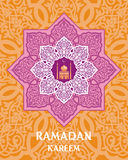 Orange ramadan greeting card Stock Image