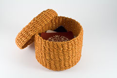 Orange rattan basket Royalty Free Stock Photo