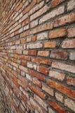 Orange raue Backsteinmauerbeschaffenheits-Perspektivenansicht Stockfotografie