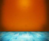 Orange Raum mit blauem Fußboden lizenzfreies stockbild