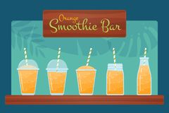 Orange raw fruit smoothie cocktail vector set. Orange raw fruit smoothies vector set. Tasty blended vitamin beverage in jar, glass and bottle, wooden sign Royalty Free Illustration