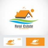 Orange real estate house logo icon Royalty Free Stock Images