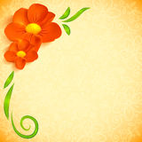 Orange realistic flowers ornate greeting card Royalty Free Stock Images