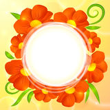 Orange realistic flowers vector round background Stock Photo