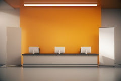 Orange reception desk Stock Images