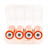 Orange rechargeable alkaline batteries Stock Images