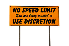 Orange Rectangle Sign with No Speed Limit Royalty Free Stock Photography