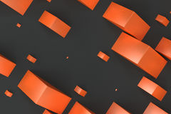 Orange rectangular shapes of random size on black background. Wall of cubes. Abstract background. 3D rendering illustration Royalty Free Stock Images