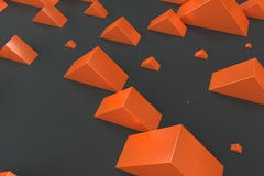Orange rectangular shapes of random size on black background Stock Image