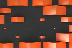 Orange rectangular shapes of random size on black background. Wall of cubes. Abstract background. 3D rendering illustration Stock Photography