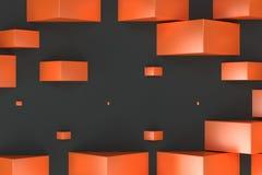 Orange rectangular shapes of random size on black background Stock Photography