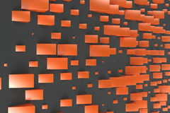 Orange rectangular shapes of random size on black background. Wall of cubes. Abstract background. 3D rendering illustration Stock Image