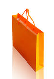 Orange recycle paper shopping bag on white clipping path. Orange recycle paper shopping bag on white background, clipping path Royalty Free Stock Photos