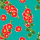 Orange Red Alcea Rosea - hollyhocks, Aoi on Green Teal Background. Vector Illustration Stock Photos