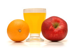 Orange, red apple. And orange juice stock images
