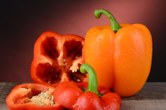 Orange and Red Bell Pepper Royalty Free Stock Photos