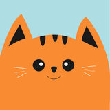 Orange red cat head with big eyes and moustache. Cute cartoon character. Pet baby collection Card. Flat design. Vector illustration Stock Images