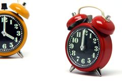 Orange and red clock Stock Photo