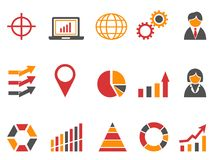 Orange red color business infographic icons set. Isolated orange red color business infographic icons set from white background Royalty Free Stock Photo