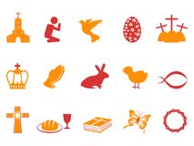 Orange and red color easter day icons set Royalty Free Stock Photography