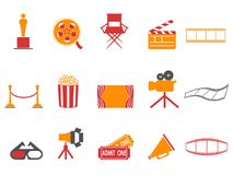 Orange and red color series movies icons set. Isolated orange and red color series movies icons set from white background Stock Images