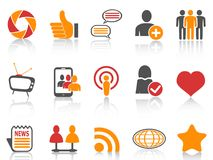 Orange and red color series Social Networking icons set Royalty Free Stock Photo