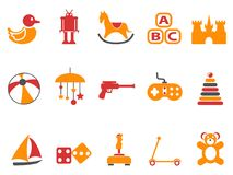Orange and red color toy icons set. Isolated orange and red color toy icons set from white background Royalty Free Stock Photo