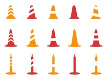 Orange and red color traffic cone icons set Royalty Free Stock Images