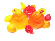 Orange and red dessert with pudding and jelly Stock Images