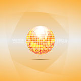 Orange and red disco ball. Abstract background filled orange gradient with sphere like disco ball and light smooth layers on sides Royalty Free Stock Photography