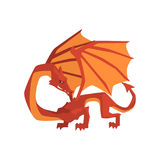 Orange and red dragon, mythical and fantastic animal vector Illustration Royalty Free Stock Photo