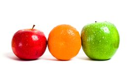 Orange, red and green apple. Isolated on white background Royalty Free Stock Photography
