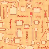 Orange and red kitchenware and words - vector seamless pattern royalty free illustration